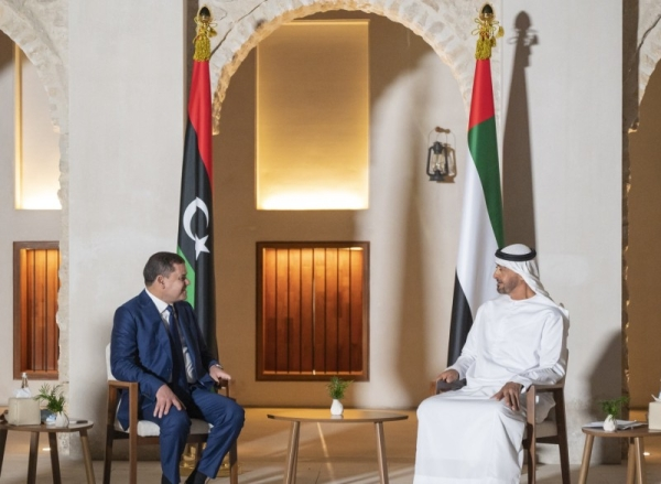 Abu Dhabi Crown Prince Sheikh Mohamed Bin Zayed Al-Nahyan, who is also the deputy supreme commander of the UAE armed forces, on Wednesday received new Libyan Prime Minister Abdul Hamid Dbeibeh at Qasr Al Hosn, here. — WAM photo