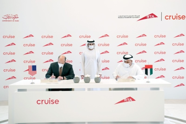 The agreement, which was signed in the presence of Crown Prince of Dubai Sheikh Hamdan Bin Mohammed Bin Rashid Al-Maktoum, who is also the chairman of Dubai Executive Council, will make Dubai the first non-US city in the world where Cruise will commercially operate these vehicles. — WAM photos