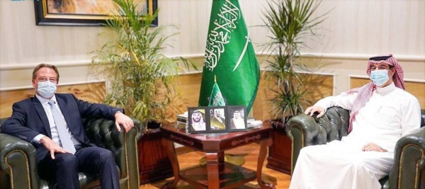 The Human Rights Commission (HRC) President Dr. Awwad Bin Saleh Al-Awwad holds talks with French envoy Ludovic Pouille in Riyadh on Monday.