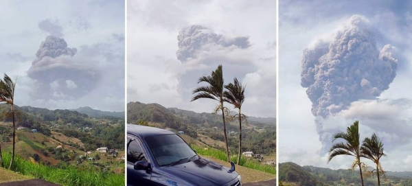 Plumes of ash billow from the La Soufrière volcano on the island of St. Vincent and the Grenadines, which started erupting on April 9. — courtesy Navin Pato Patterson