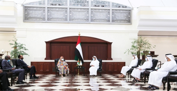 Sudan's Foreign Minister Dr. Maryam Al-Sadiq Al-Mahdi, left, who is currently on an official visit to the United Arab Emirates leading a high-level delegation, met on Tuesday with Director-General of Abu Dhabi Fund for Development (ADFD) Mohammed Saif Al-Suwaidi at ADFD headquarters here. — WAM photos