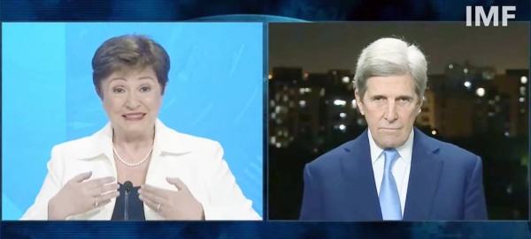 IMF chief Kristalina Georgieva and US Climate Envoy John Kerry discuss climate action on the CNN news channel