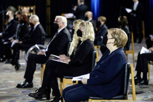 Chancellor Angela Merkel and President Frank-Walter Steinmeier joined an ecumenical service in the morning at Berlin's Kaiser Wilhelm Memorial Church. — courtesy photo