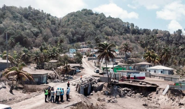 An aerial view in the red zone impacted by the La Soufrière volcano eruption in St. Vincent and the Grenadines. — courtesy UN Barbados OECS/ Bajanpro