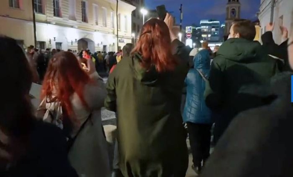 Video grab of supporters of Kremlin critic Alexei Navalny protesting peacefully in Moscow on Wednesday.