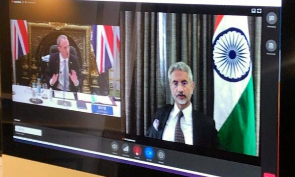 Indian External Affairs Minister Subrahmanyam Jaishankar attending G7 Foreign Ministers' meeting virtually.