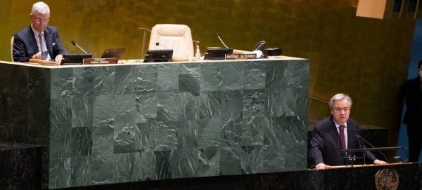 UN Secretary-General António Guterres addresses the General Assembly as part of the selection process for another term as the UN Chief. — Courtesy photo