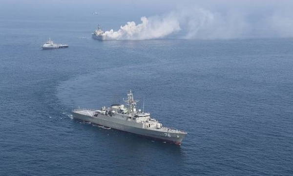 Iranian warships are seen during a joint naval exercise with the Russian Navy in the Indian Ocean in this courtesy file photo.