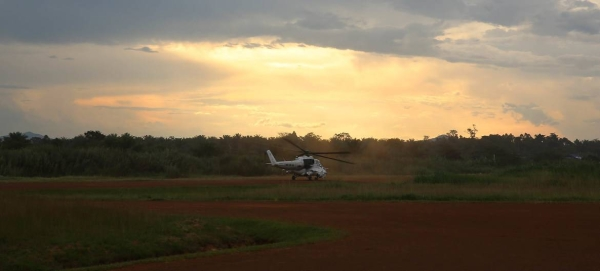 A helicopter takes off from a MONUSCO base in Beni, North Kivu, for a reconnaissance mission in this courtesy file photo.