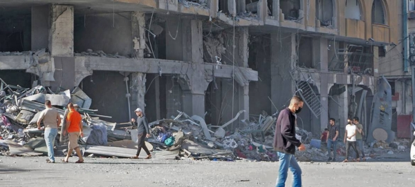 A building destroyed in an Israeli airstrike is seen in this photo taken on May 12, 2021. Escalated hostilities in the Gaza Strip have resulted in further casualties and large-scale displacement. — Courtesy photo