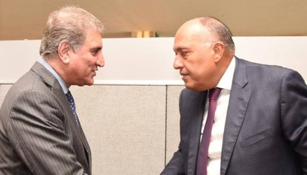 Egypt's Foreign Minister Sameh Shoukry, right, and Pakistan's Foreign Minister counterpart Shah Mahmood Qureshi are seen in this file courtesy picture.