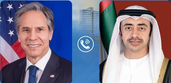 Foreign Minister of the United Arab Emirates and US Secretary of State Antony Blinken held talks on Monday over the phone about the current situation in the Middle East. — WAM photo