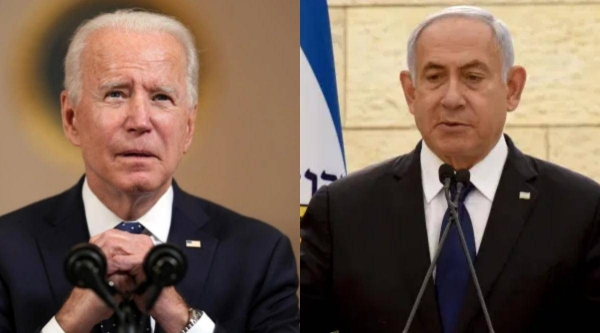 US President Joe Biden, left, and Israeli Prime Minister Benjamin Netanyahu are seen in this file combination picture. — Courtesy photo
