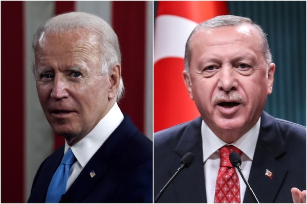 US President Joe Biden, right, and his Turkish counterpart Recep Tayyip Erdogan are seen in this file combination picture. — Courtesy photo