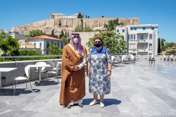 Minister of Culture Prince Badr Bin Abdullah bin Farhan met on Wednesday at the Acropolis Museum in the Greek capital Athens with his counterpart Minister of Culture and Sports of the Hellenic Republic Dr. Lina Mendoni.