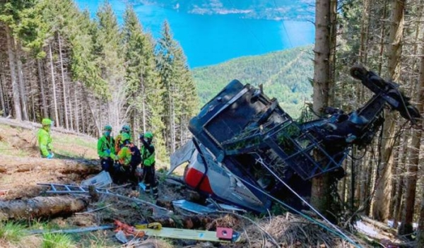 Recent photo of cable car crash in Italy that killed 14 people. A judge indicated that most of the blame fell on just one of them among the three arrested, a service technician.