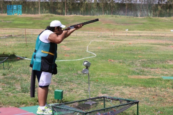 A member of the Saudi shooting team that won the second place and the silver medal in the finals of skeet shooting event in the Arab Tournament in Cairo.