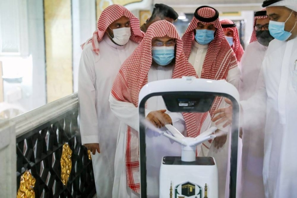File photo of a smart robot sterilizing the Grand Mosque in Makkah. The General Presidency for the Affairs of the Two Holy Mosques has provided 10 smart robots to join the sterilization operations at the Grand Mosque.