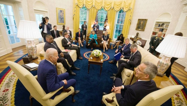 US President Joe Biden meets with NATO Secretary General Jens Stoltenberg at the White House in Washington D.C. on Monday.
