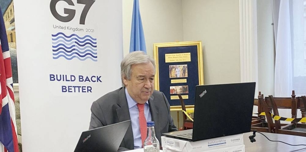 Secretary-General António Guterres briefs the press outlining his expectations for the G7 summit taking place in the UK. — courtesy United Nations