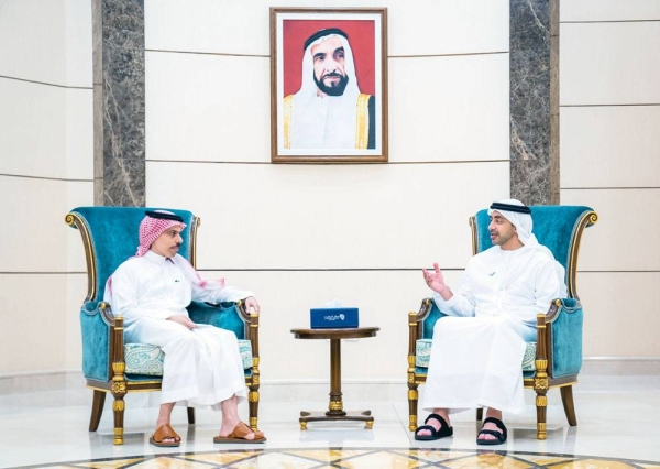 Foreign Minister Prince Faisal Bin Farhan made a phone call on Saturday to his Emirati counterpart Sheikh Abdullah Bin Zayed to congratulate him on the UAE's election as a non-permanent member of the UN Security Council. The two are seen discussing bilateral issues in this file photo.