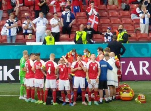Denmark's match against Finland at the European Championship was dramatically suspended minutes before halftime on Saturday after Danish midfielder Christian Eriksen collapsed on the field.