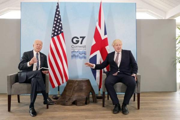 US President Joe Biden and UK Prime Minister Boris Johnson meet on the sidelines of the G7 meeting in London.