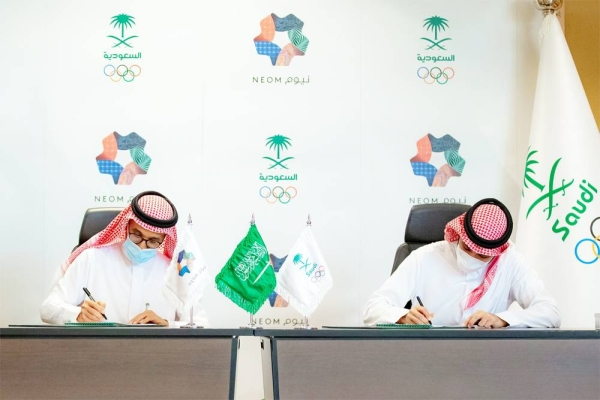 Minister of Sports Prince Abdulaziz Bin Turki Al Faisal, president of the Saudi Arabian Olympic Committee, and Nadhmi Al-Nasr, NEOM chief executive officer, sign a 5-year MoU to collaborate on developing and enhancing a globally competitive sports ecosystem within Saudi Arabia.
