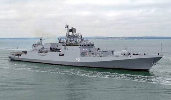 INS Trikand participates in the maiden Indian Navy and European Union Naval Force exercise in the Gulf of Aden. — courtesy PTI