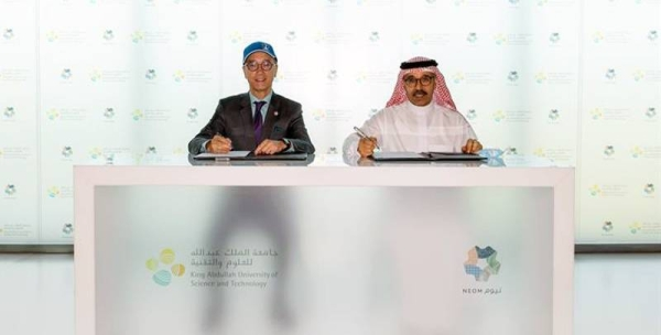 KAUST President Dr. Tony F. Chan (left) and NEOM CEO Nadhmi Al-Nasr launch a joint project to establish the world's largest coral garden at Shousha Island in the Red Sea area of NEOM.
