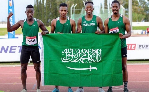 The winning Saudi relay team of the 4x100 meters race in the 22nd Arab Athletics Championship in Rades, Tunisia.