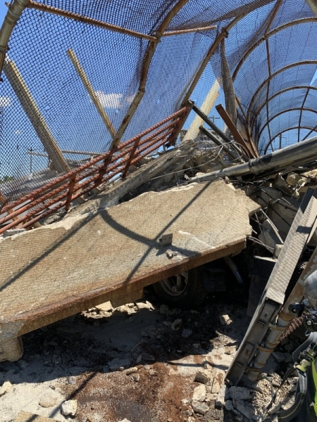 A pedestrian bridge that likely was struck by at least one vehicle collapsed onto Interstate 295 in Washington, DC, injuring several people and blocking the highway in both directions, officials said on Wednesday. — Courtesy photos