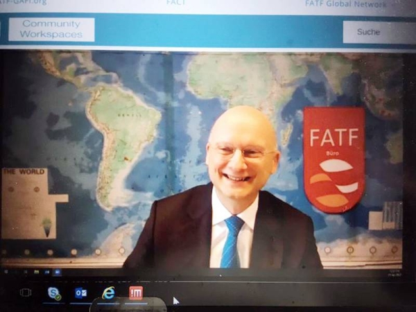 FATF President Dr. Marcus Pleyer during the plenary. — courtesy Twitter