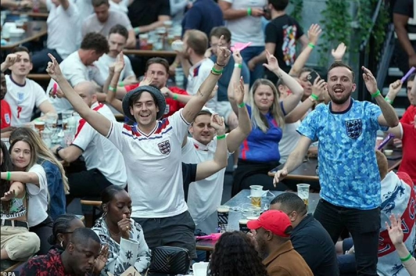 England captain Harry Kane celebrates England's goal against Ukraine in Euro 2020 quarterfinals in Rome on Saturday.