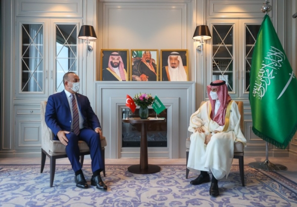 Minister of Foreign Affairs Prince Faisal Bin Farhan met here on Friday with his Turkish counterpart Mevlut Cavusoglu.