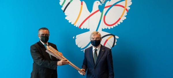 IOC President Thomas Bach meets Director-General of the World Health Organization Tedros Adhanom Ghebreyesus. — Courtesy photo