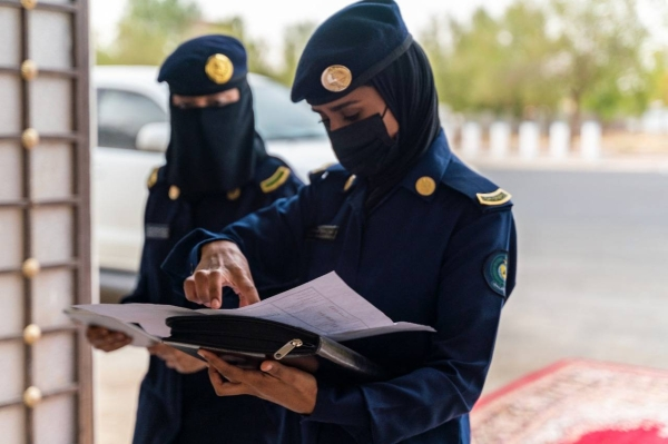 Keeping a watchful eye, Civil Defense women personnel swing into action