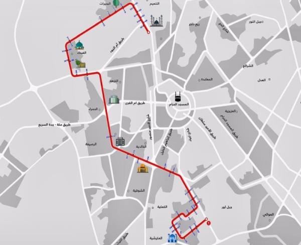 7 routes unveiled for public transport buses in Makkah