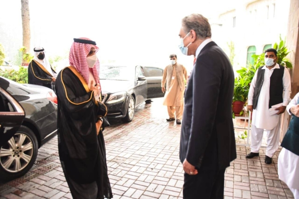 Saudi Arabia's Foreign Minister Prince Faisal Bin Farhan met here on Tuesday with his Pakistani counterpart Shah Mahmood Qureshi, the Saudi Press Agency reported.
