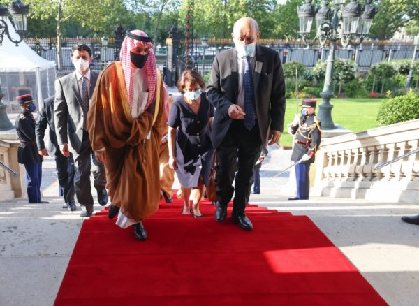 Saudi Arabia's Foreign Minister Prince Faisal Bin Farhan met here on Wednesday with his French counterpart Jean-Yves Le Drian.