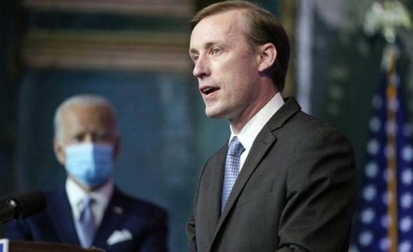 File photo of US National Security Advisor Jake Sullivan, speaking in front of US President Joe Biden.