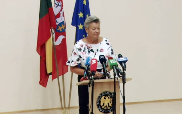 Ylva Johansson, the EU commissioner of Home Affairs, speaks in Lithuania on Sunday, a day on which a record 287 illegal migrants arrivals were recorded — more than three times as many as in all of last year.