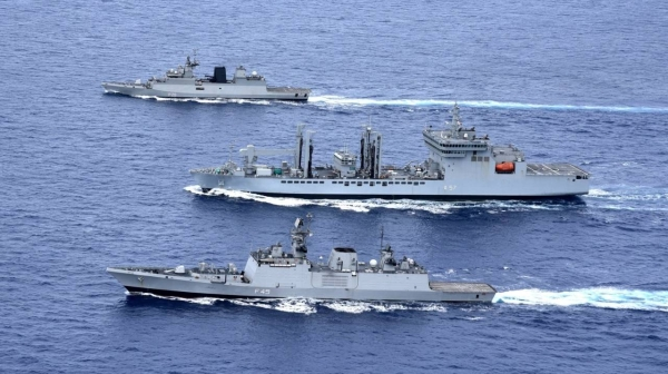 The task force, which includes a guided-missile destroyer, guided-missile frigate, anti-submarine corvette and guided-missile corvette, will participate in a series of exercises during the two-month deployment, including the Malabar 2021 naval exercises with US, Japanese and Australian forces. — Courtesy photo