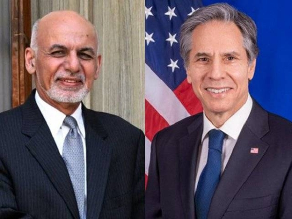 US Secretary of State Antony Blinken, right, spoke with Afghan President Ashraf Ghani on Tuesday to reiterate the strong and enduring US commitment to Afghanistan, the US Department of State said in a statement. — Courtesy file photo