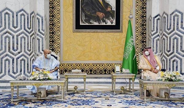 Prince Badr Bin Sultan, deputy governor of Makkah Region, receives Mauritania President Mohamed Ould Ghazouani in Jeddah on Thursday.