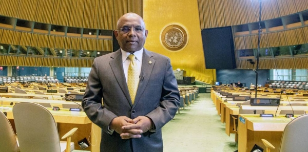 The President-elect of the UN General Assembly Abdulla Shahid in the General Assembly hall. — Courtesy UN Photo/Eskinder Debebe