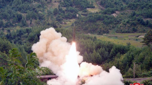 North Korea tested a railway-borne missile system on the previous day, the state-run Korean Central News Agency reported Thursday, a day after Japan and South Korea said the North launched two ballistic missiles into waters.