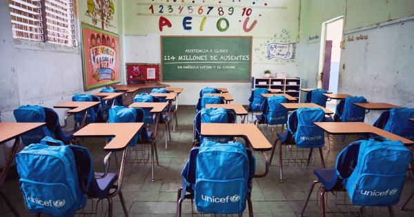 Around 117 million students, representing 7.5 percent of the total, are still affected by complete school closures in 18 countries. — courtesy UNICEF/Pablo Schverdfinger