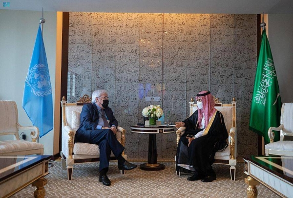Foreign Minister Prince Faisal Bin Farhan met UN Under-Secretary General for Humanitarian Affairs Martin Griffiths on the sidelines of the 76th annual session of the United Nations General Assembly in New York.