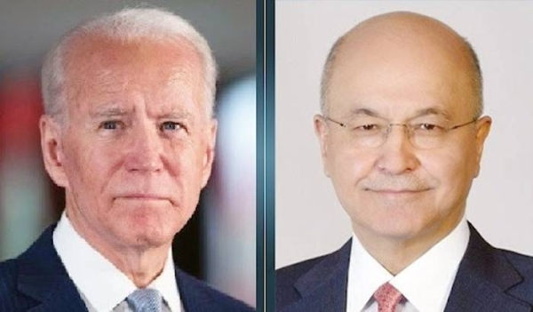 A combo file photo of US President Joe Biden and Iraqi President Barham Saleh, who  met in New York on Tuesday.
